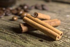 Pijpjes kaneel met koffiebonen Stock Afbeeldingen