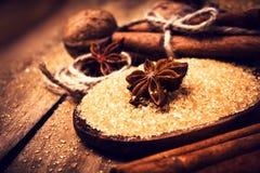 Pijpjes kaneel, noten en steranijsplant op bruine suiker, macro. Baki Royalty-vrije Stock Afbeeldingen