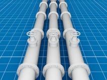 Pijpleiding, blauwdruk 3d concept Stock Illustratie