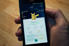 Pikachu was caught in Pokemon Go Stock Photography