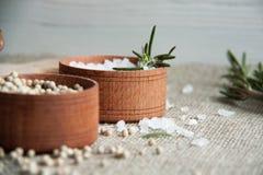 Pikantność: biały pieprz, sól i rozmaryny w małych brown pudełkach, obrazy royalty free