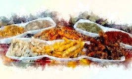 Pikantność ilustracyjne z pluśnięcie akwareli textured tłem niezwykła ilustracyjna akwarela ilustracja wektor