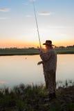 Pike-Jäger auf dem Fluss Lizenzfreies Stockbild