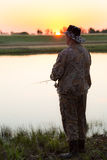 Pike-Jäger auf dem Fluss Lizenzfreies Stockfoto