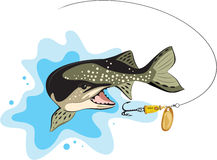 Pike and lure fishing, vector illustration Stock Photos