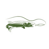 Pike and lure vector design template Royalty Free Stock Photography
