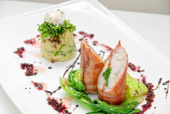 Pike perch at bacon Stock Photography