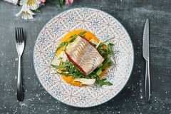 Pike-perch with carrot puree and fennel. Fried perch fillet with vegetable puree. stock image