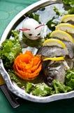 Pike perch elegant dish served Stock Photo
