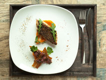 Pike-perch fillet with vegetable sauce and Mexican salsa. Royalty Free Stock Photography