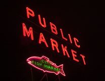 Pike place market. At night Royalty Free Stock Photography