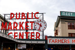 Pike Place Market. Big Sign Stock Images