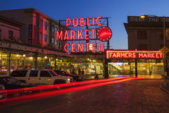 Pike Place Market at Night Royalty Free Stock Image