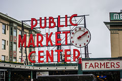 Pike place pike market sign in seattle washington Stock Photography