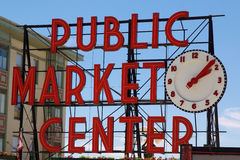 Pike Place Public Market Center Sign Royalty Free Stock Photo
