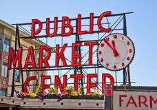 Pike Place Public Market-Sign Stock Photos
