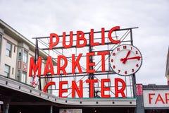 Pike-Platz-Markt-Zeichen Stockbild