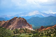 Pike`s Peak on a cloudy and stormy day Royalty Free Stock Photos