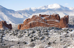 Pike's Peak and The Gardern of the Gods. A fresh winter snow covers Pike's Peak and The Garden of the Gods in Colorado Springs Colorado Royalty Free Stock Photo