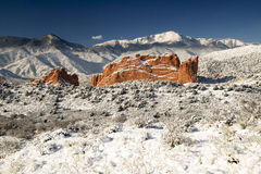Pike's Peak and The Gardern of the Gods. A fresh winter snow covers Pike's Peak and The Garden of the Gods in Colorado Springs Colorado Royalty Free Stock Images