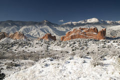 Pike's Peak and The Gardern of the Gods. A fresh winter snow covers Pike's Peak and The Garden of the Gods in Colorado Springs Colorado Stock Images