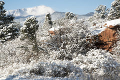 Pike's Peak and The Gardern of the Gods. A fresh winter snow covers Pike's Peak and The Garden of the Gods in Colorado Springs Colorado Stock Photos