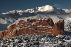 Pike's Peak and The Gardern of the Gods. A fresh winter snow covers Pike's Peak and The Garden of the Gods in Colorado Springs Colorado Stock Image