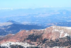 Pike's Peak south view. View from close to summit of Pike's Peak mid-morning. Believe mountains in distance are Colorado's Front Range Royalty Free Stock Images