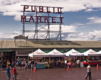 Pike's Place Market in Seattle. SEATTLE, WASHINGTON - JULY 13: Pike Place Market has served as the Seattle's harbor district commercial hub and farmer's/artist royalty free stock images