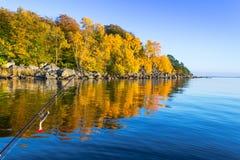 Pike sea fishing in autumn scenery Stock Photos