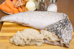 Pike skin stuffed with minced meat Royalty Free Stock Photography