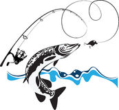 Pike, spinning, reel and wobbler. Stylized composition, vector illustration Stock Photo