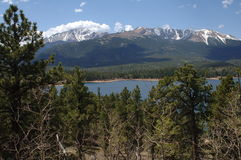 Pikes Park mountain. Pikes Peak Colorado with a little snow on top spring time royalty free stock photos