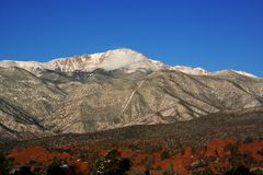 Pikes Peak. Mountain range from Garden of the Gods in Colorado Springs Stock Photos