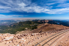 Pikes Peak Cog railway from top of Pike Peak, Colorado Springs, Royalty Free Stock Photo