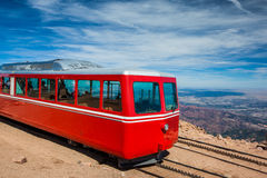 Pikes Peak Cog Train from top of Pike Peak, Colorado Springs, CO Stock Photography