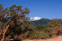 Pikes Peak in Colorado. Snow-capped Pikes Peak in Colorado, USA, under a clear blue sky royalty free stock images