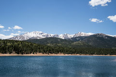 Pikes Peak Crystal Lake. Beautiful landscape view of the snow cap mountains of Pikes Peak over the Crystal Creek Reservoir. Pikes Peak is one of the top travel Stock Photo