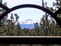 Pikes Peak framed in Architecture. Pikes Peak in the distance framed in foreground by metal architecture Stock Photography