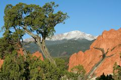 Pikes Peak from the Garden of the Gods. This is a view of Pikes Peak framed by the red rock formations of the Garden of the Gods. Pikes Peak is noted for being Stock Images