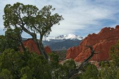 Pikes Peak from the Garden of the Gods. This is a view of Pikes Peak framed by the red rock formations of the Garden of the Gods. Pikes Peak is noted for being Stock Photography