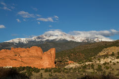 Pikes Peak and Garden of the Gods on a Spring Day Royalty Free Stock Images