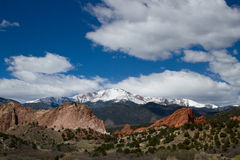 Pikes Peak and Garden of the Gods on a Spring Day Stock Image