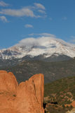 Pikes Peak and Garden of the Gods on a Spring Day Stock Photos