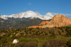 Pikes Peak and Garden of the Gods on a Spring Day Royalty Free Stock Photography