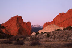 Pikes Peak and the Garden of the Gods at sunrise Royalty Free Stock Photography