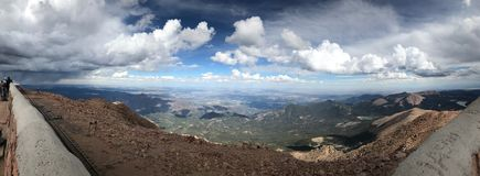 Pikes Peak Colorado Springs rain and thunder storm Panoramic Royalty Free Stock Images