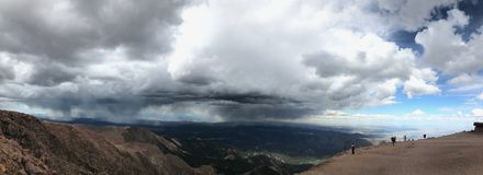 Pikes Peak Colorado Springs rain and thunder storm Royalty Free Stock Photos