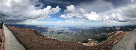 Pikes Peak Colorado Springs rain and thunder storm Panoramic Royalty Free Stock Images