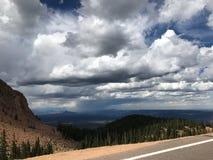 Pikes Peak Colorado Springs rain and thunder storm Stock Photos